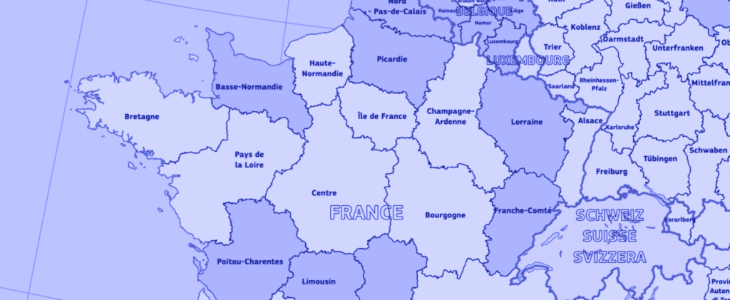 Carte des régions FSE